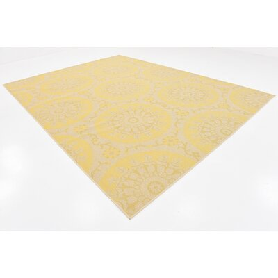 Arabian Yellow Indoor/Outdoor Area Rug Rug Size: 9 x 12