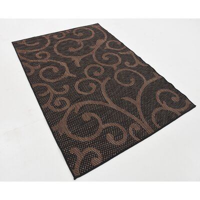 Archibald Chocolate Brown Outdoor Area Rug Rug Size: 4 x 6