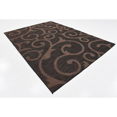 Archibald Chocolate Brown Outdoor Area Rug Rug Size: Rectangle 8 x 114