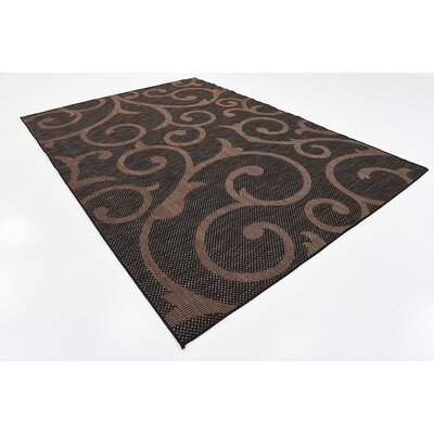 Archibald Chocolate Brown Outdoor Area Rug Rug Size: 7 x 10