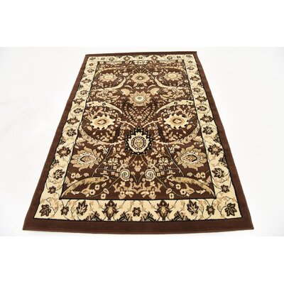 Britannia Brown Area Rug Rug Size: Rectangle 4 x 6