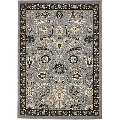 Britannia Dark Gray Area Rug Rug Size: Rectangle 7 x 10