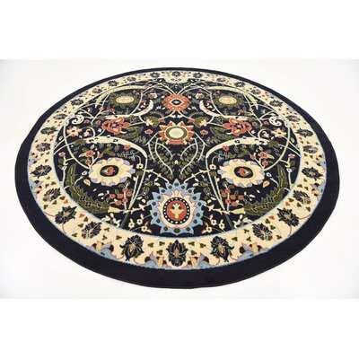 Antoinette Navy Blue Area Rug Rug Size: Round 8