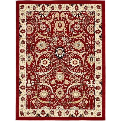 Antoinette Red Area Rug Rug Size: 9 x 12