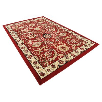 Antoinette Red Area Rug Rug Size: 6 x 9