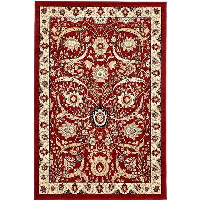 Britannia Red Area Rug Rug Size: Rectangle 6' x 9'