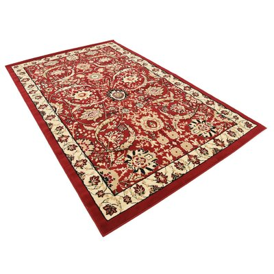 Antoinette Red Area Rug Rug Size: 5 x 8