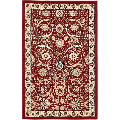 Antoinette Red Area Rug Rug Size: Rectangle 5 x 8