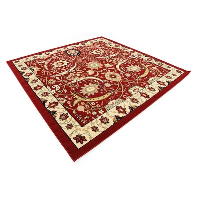 Antoinette Red Area Rug Rug Size: Square 8'