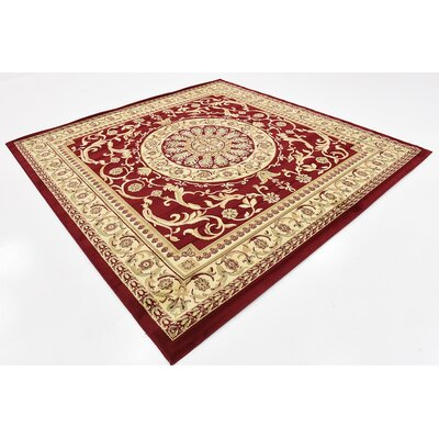 Oskar Red Area Rug Rug Size: Square 8