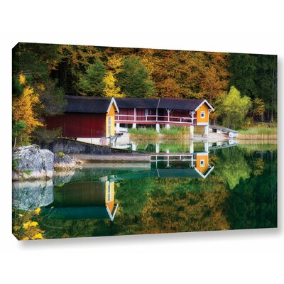 Lake Boat House Photographic Print on Wrapped Canvas