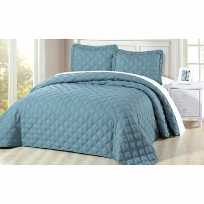Barney 3 Piece Coverlet Set Color: Smoke Blue, Size: Queen