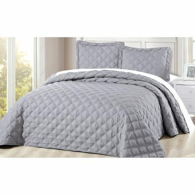 Barney 3 Piece Coverlet Set Color: Ash Gray, Size: Queen