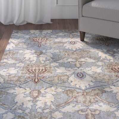 Griffith Blue Area Rug Rug Size: 53 x 78