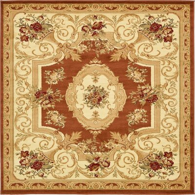 Oskar Brick Red Area Rug Rug Size: Square 6