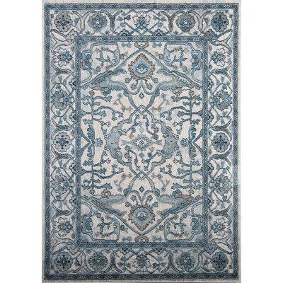 Gloria Ivory/Blue Area Rug Rug Size: 710 x 102