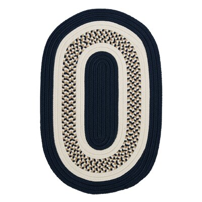 Germain Navy/Beige Area Rug Rug Size: Oval Runner 2 x 12