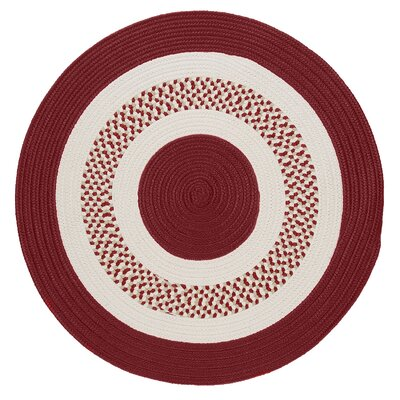 Germain Red & Beige Indoor/Outdoor Area Rug Rug Size: Round 4
