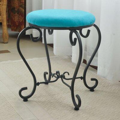Bramhall Round Iron Vanity Stool Color: Aqua Blue