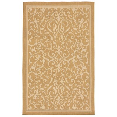 Brasstown Scroll Vine Almond/Camel Indoor/Outdoor Area Rug Rug Size: 410 x 76