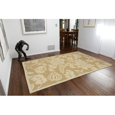 Brasstown Floral Almond/Camel Indoor/Outdoor Area Rug Rug Size: Runner 111 x 76