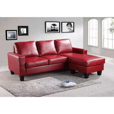 Bratton Heights Sectional Upholstery: Red