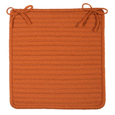 Glasgow Square Indoor/Outdoor Braided Chair Pad (Set of 4) Color: Rust