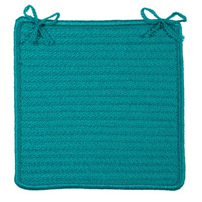 Glasgow Square Indoor/Outdoor Braided Chair Pad (Set of 4) Color: Turquoise
