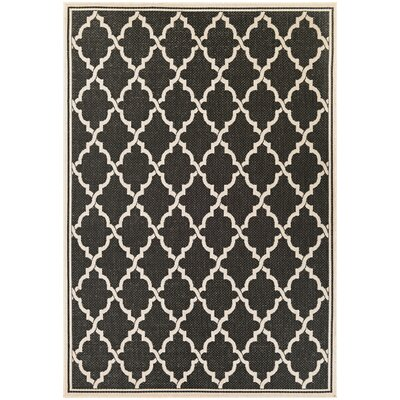 Cardwell Ocean Port Black/Sand Indoor/Outdoor Area Rug Rug Size: 39 x 55