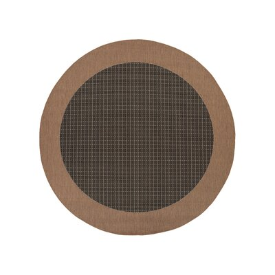 Ariadne Checkered Field Black/Cocoa Indoor/Outdoor Area Rug Rug Size: Round 76