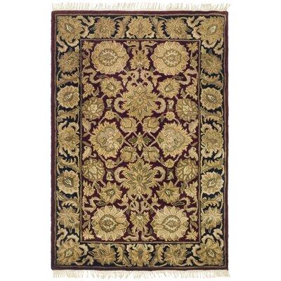 Audane Burgundy/Black Kashan Rug Rug Size: 4' x 6'
