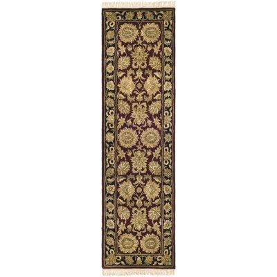 Audane Burgundy/Black Kashan Rug Rug Size: Runner 23 x 10