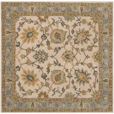 Audane Ivory / Light Blue Area Rug Rug Size: Square 6