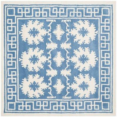 Amundson Hand Tufted Blue/Ivory Area Rug Rug Size: Square 5