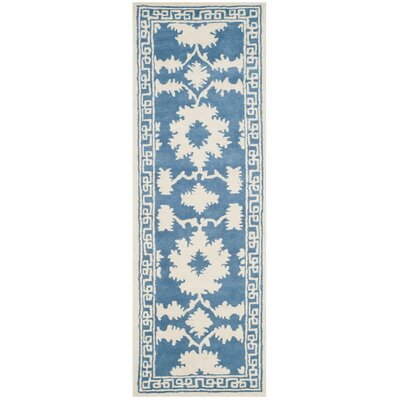 Amundson Hand Tufted Blue/Ivory Area Rug Rug Size: Runner 23 x 7