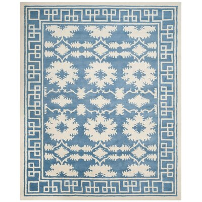 Amundson Hand Tufted Blue/Ivory Area Rug Rug Size: Rectangle 6 x 9
