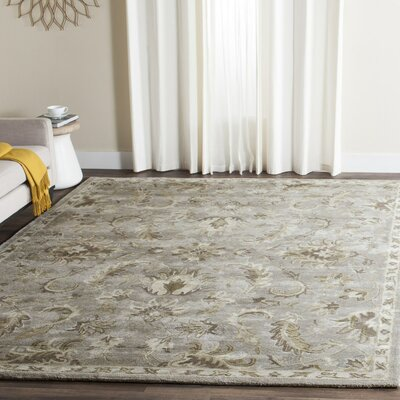 Amundson Hand Tufted Light Gray Area Rug Rug Size: Rectangle 26 x 4