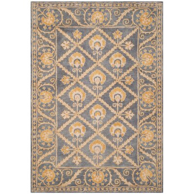 Amundson Hand-Tufted Blue/Gold Area Rug Rug Size: Rectangle 26 x 4