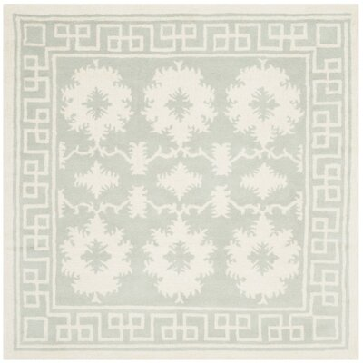Amundson Hand-Tufted Gray/Ivory Area Rug Rug Size: Square 5