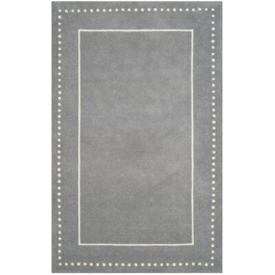 Amundson Hand-Tufted Silver/Ivory Area Rug Rug Size: 6 x 9