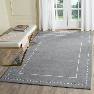 Amundson Hand-Tufted Silver/Ivory Area Rug Rug Size: Rectangle 6 x 9