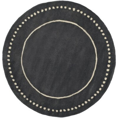 Amundson Hand-Tufted Dark Grey/Ivory Indoor Area Rug Rug Size: Round 5