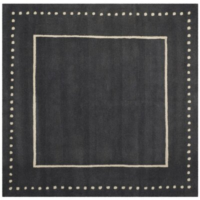 Amundson Hand-Tufted Dark Grey/Ivory Indoor Area Rug Rug Size: Square 5