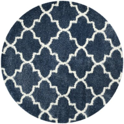Bingham Blue/White Area Rug Rug Size: Round 67