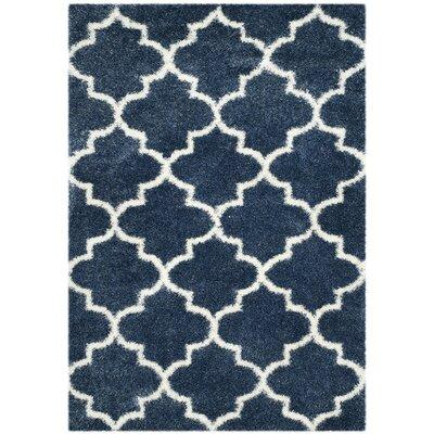 Bingham Blue/White Area Rug Rug Size: 53 x 76
