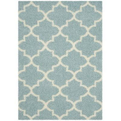 Bingham LightBlue/Ivory Area Rug Rug Size: Rectangle 53 x 76