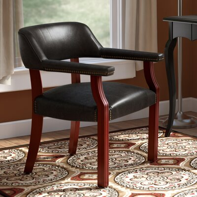 Evelyn Roberts Guest Barrel Arm Chair Upholstery: Black, Casters: No