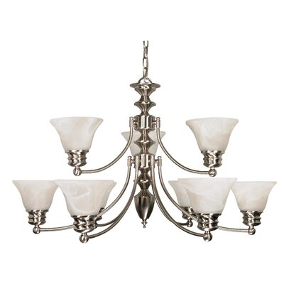 Poneto 9-Light Shaded Chandelier Energy Star: Yes
