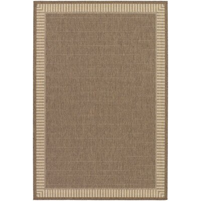 Westlund Wicker Stitch Cocoa/Natural Indoor/Outdoor Area Rug Rug Size: 39 x 55