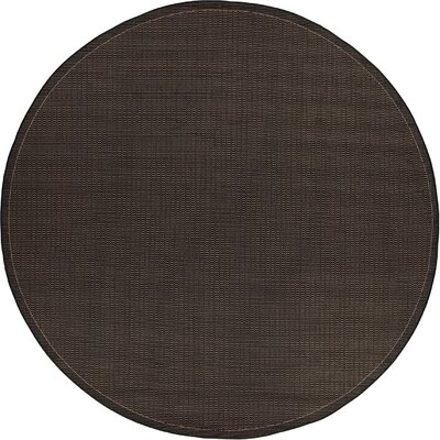 Ariadne Saddle Stitch Hand-Woven Black Cocoa Indoor/Outdoor Area Rug Rug Size: Round 76